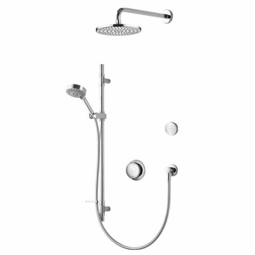 Aqualisa Rise Smart Divert Concealed With Adjustable Head Wall Mounted Drencher And Remote Control RS.A2.BVFW.18