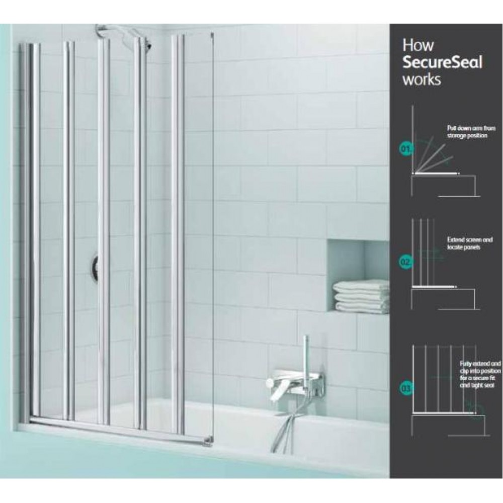 Merlyn SecureSeal 5 Fold Bath Screen